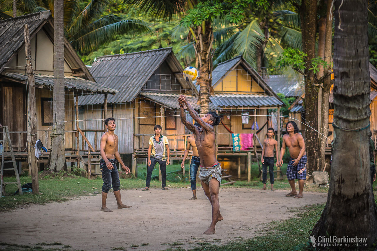 Locals playing volley ball, Koh Chang