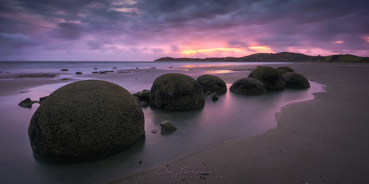 Sunrise at Moeraki Rocks, New Zealand